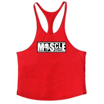Muscle Guys Brand Gyms Clothing Bodybuilding Tank Top Men Fitness Singlet Sleeveless Shirt Fashion Cotton stringer for Boy Vest
