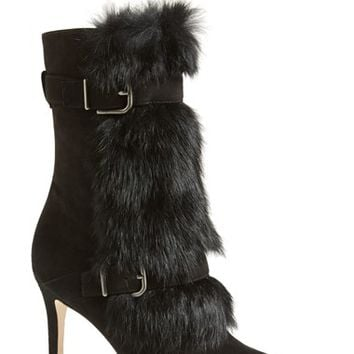 "Women's Via Spiga 'Chiaki' Suede & Genuine Rabbit Fur Boot, 3 1/2"" heel"