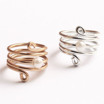 Knuckle wire wrapped ring with small pearl by pureshapes on Etsy