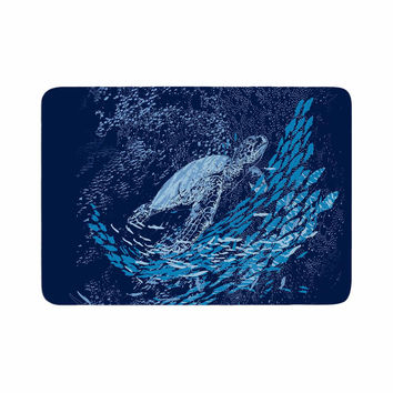 "Frederic Levy-Hadida ""The Turtle Way"" Aqua Blue Memory Foam Bath Mat"