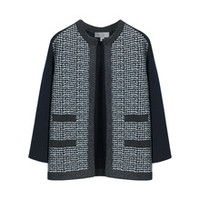 Structured Jacket in Midnight Blue Houndstooth Jacquard | Womenswear | Mulberry