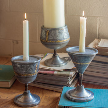 Set of 3 Zinc Cocktail Candle Holders with Beaded Brass
