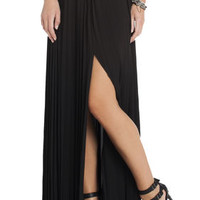 BCBG Dillon Pleated Paneled Maxi Skirt