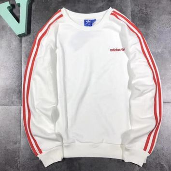 Adidas Letter and Logo Print Long Sleeve Sweater