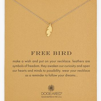 Women's Dogeared 'Reminder - Free Bird' Boxed Feather Necklace