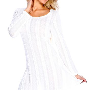 Sexy Casual White Long Sleeves Textured Sweater Dress