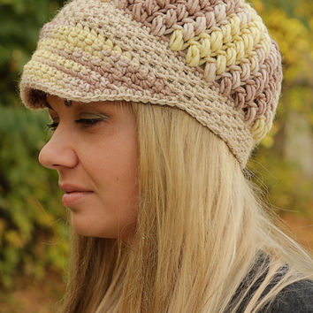 Beige Visor Crochet Hat Pastels Womens Hat Crochet Beanie Hat Chunky Hat Crochet Hat Hat Wool Colorful Hat Womens Accessories Winter Hat