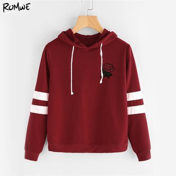 Varsity Striped Casual Hoodie Women Burgundy Rose Patch Hooded Sweatshirt Fall Embroidery Long Sleeve Basic Hoodies