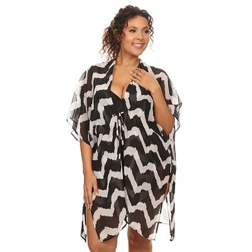 Plus Size Women's Front Tie Beach Dress Cover Up