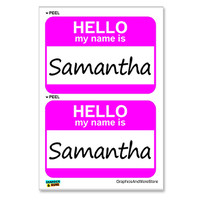Samantha Hello My Name Is - Sheet of 2 Stickers