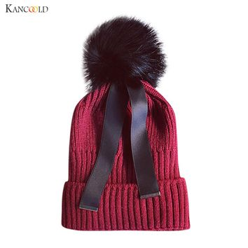 mink and fox fur ball cap pom poms winter hat for women girl 's hat knitted beanies cap with ribbon new thick female cap no13