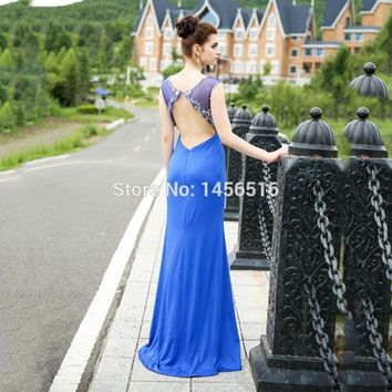 Robe Evening Party Dress Royal Blue Beaded Cap sleeve Open back Party Occasion Formal Long Evening Dresses
