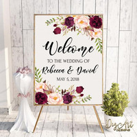 Burgundy Blush Wedding Welcome Sign Template Printable Boho Floral Welcome Poster Editable Reception Sign Instant Download, Edit w/ Templett