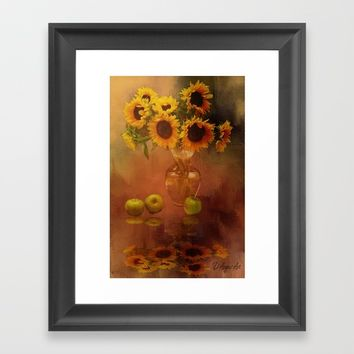 Sunflower Reflections Framed Art Print by Theresa Campbell D'August Art