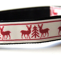 Christmas Reindeer Dog Collar Adjustable Sizes M, L, XL)