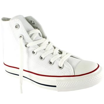 Womens Converse All Star Hi High Top Chuck Taylor Chucks Trainers - Optical White - 7