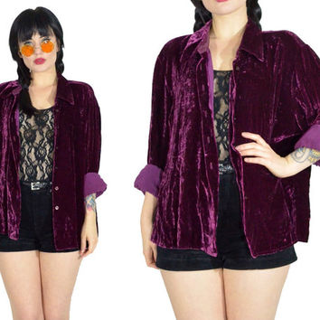 vintage 90s purple velvet duster jacket velour oversized grunge shirt blouse top minimalist long sleeve wine Limited shirt medium large