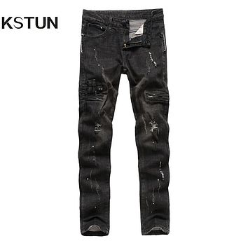 KSTUN Autumn Winter Jeans Men Black Thick Tapered Skinny Slim Fit Fake Pockets Zippers Designer Hip Hop Male Ripped Biker Jeans