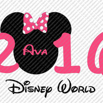 Minnie Mouse 2016 Disney World personalized with Name and Color Printable Digital Iron On Transfer Clip Art DIY Tshirts