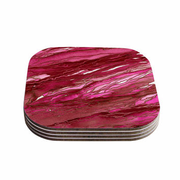 "Ebi Emporium ""Agate Magic - Hot Pink Red"" Magenta Abstract Coasters (Set of 4)"