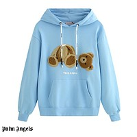 Palm Angels have been selling casual couples with beheaded teddy bear hoodies Blue