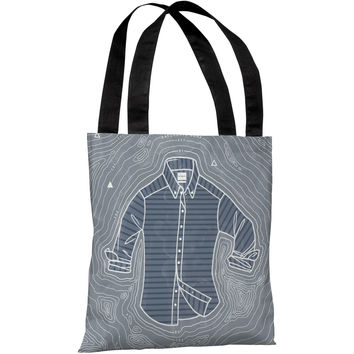 """Blue Botton Up Island"" 18""x18"" Tote Bag by Michael Sanderson"