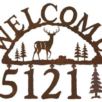 White Tail Deer Handcrafted Metal Welcome Address Sign - Rustic Lodge Series