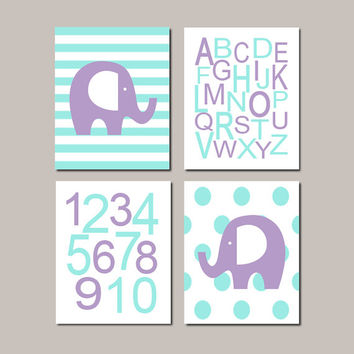 LAVENDER AQUA Baby Girl ELEPHANT Nursery Wall Art Girl Nursery Decor Abc Alphabet Letters Girl Baby Shower Gift Set Of 4 Prints Or Canvas