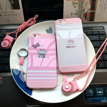 Pink crown bestie mobile phone case for iphone 5 5s SE 6 6s 6 plus 6s plus + Nice gift box 71501