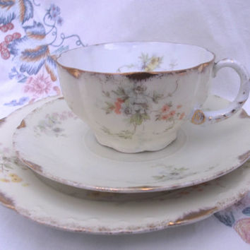 Stunning Rosenthal Art Nouveau tea cup, saucer and plate - tea trio