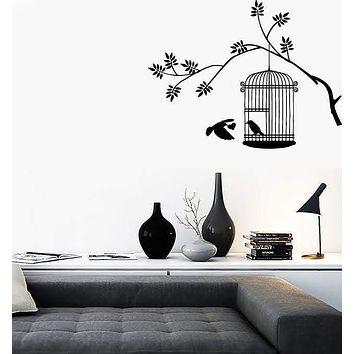 Vinyl Decal Wall Stickers Tree Branch Birds In Cage Cool Decor (z1618)