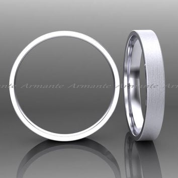 14k Solid White Gold Wedding Band / 3.00mm Wide Wedding Band / Hand Made Wedding Ring Brushed Finish