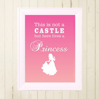 Snow White princess printable poster Children child little girls room wall decor poster design pink digital file download A4 print at home