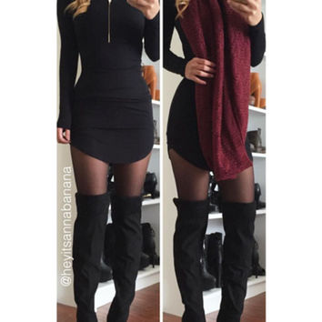 Mock Neck Bodycon Dress - Black