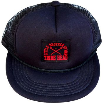 Little Brother of War Lacrosse Woven Label Trucker Hat