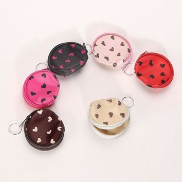 Portable Women Girl Headset Heart Dots Coin Key Wallet Purse Hand Bag Package Gifts Random Color