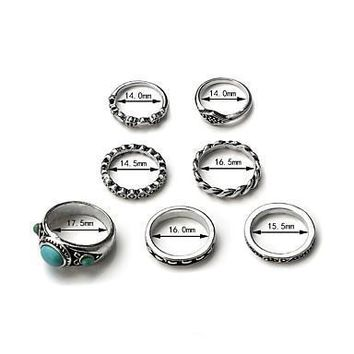 Turquoise Alloy Bohemian One Size Silver Rings