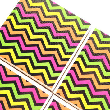 Neon Chevron Coasters, Neon Pink Chevron, Neon Yellow Chevron, Neon Green Chevron, Neon Orange Chevron, Ceramic Tile Coasters Set