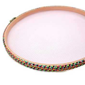 Triangle Multi Color Pattern Decorative Jewelry Wood Hoop Display