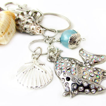 Fish Charm Keychain, Starfish Keychain, Beach Keychain, Shell Key Chain, Car Accessory, Pretty Keychain, Rhinestone Keychain