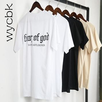 Fear Of God T Shirts 2018 Newest Justin Bieber Streetwear Fear Of God T-Shirt Tops Tee Kanye West Harajuku Fear Of God T Shirt