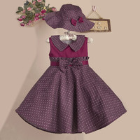 "The ""Madison"" Vintage Inspired Burgundy Blue Dot Dress with Matching Hat"