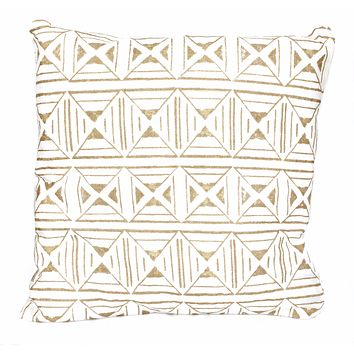 Reversible Pillow Cover in Cream & Gold