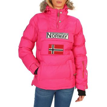 Geographical Norway Pink Collar Graphic Bomber Jacket Coat