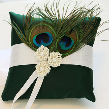 Dark Green Pillow Ring for Dogs, Wedding ring bearer Dog Accessory