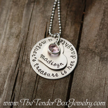 Mothers Day Personalized daughter necklace a mother's treasure is her daughter custom gift for daughter
