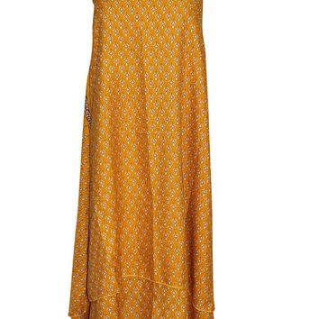 Magic Wrap Skirts Floral Printed Premium Silk Sari Yellow Reversible Dress ... ...