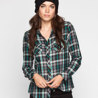 Angie Womens Boyfriend Flannel Shirt Charcoal  In Sizes