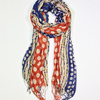 East Cloud Red & Blue Polka Dot Scarf | zulily
