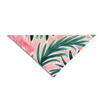 "Crystal Walen ""Lush Palm Leaves "" Green Pink Pet Bandana - Outlet Item"